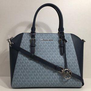 Michael Kors large blue logo satchel bag